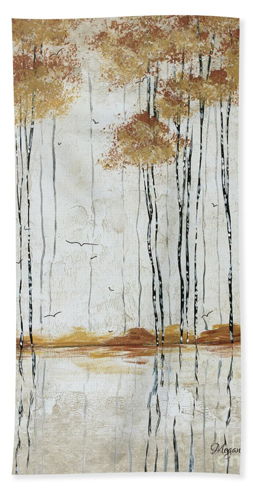 Abstract Bath Sheet featuring the painting Abstract Neutral Landscape Pond Reflection Painting Mystified Dreams I By Megan Ducanson by Megan Duncanson