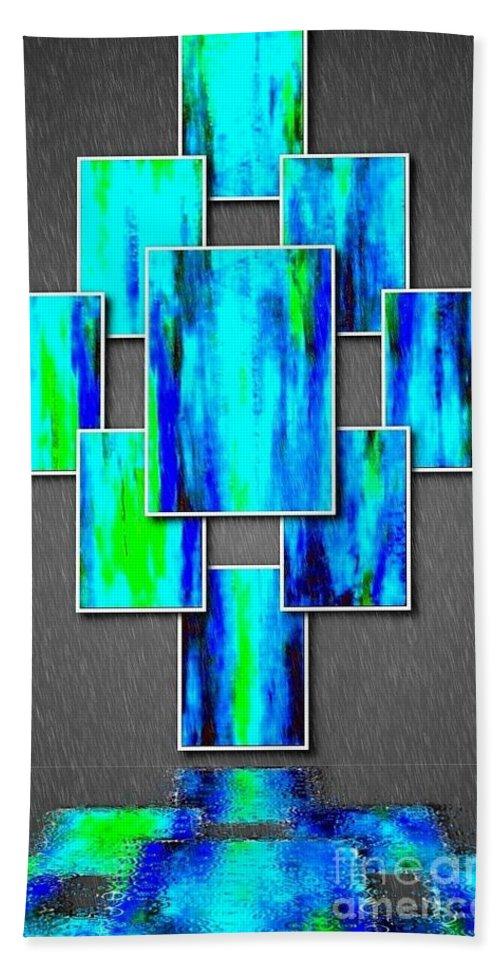 Abstract Ocean Tile Bath Sheet featuring the painting Abstract Ocean Tiles by Saundra Myles