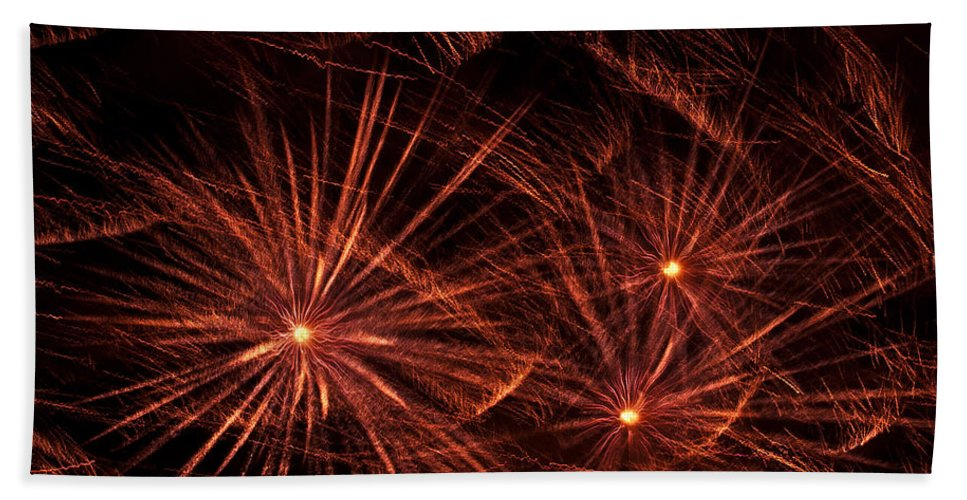 Abstract Bath Sheet featuring the photograph Abstract Of Fireworks On Black by Jess Kraft