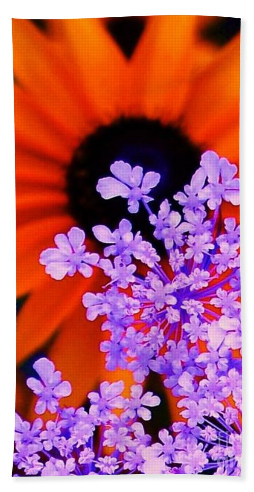 Abstract Bath Sheet featuring the photograph Abstract Orange And Purple Flower by Eric Schiabor
