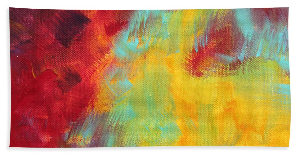 Abstract Hand Towel featuring the painting Abstract Original Painting Colorful Vivid Art Colors Of Glory I By Megan Duncanson by Megan Duncanson