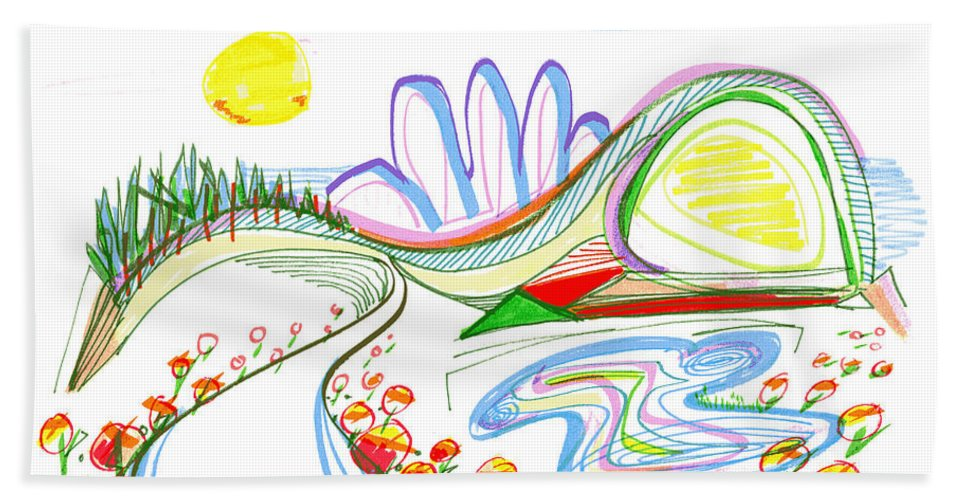 Abstract Bath Sheet featuring the drawing Abstract Pen Drawing Forty-Four by Lynne Taetzsch