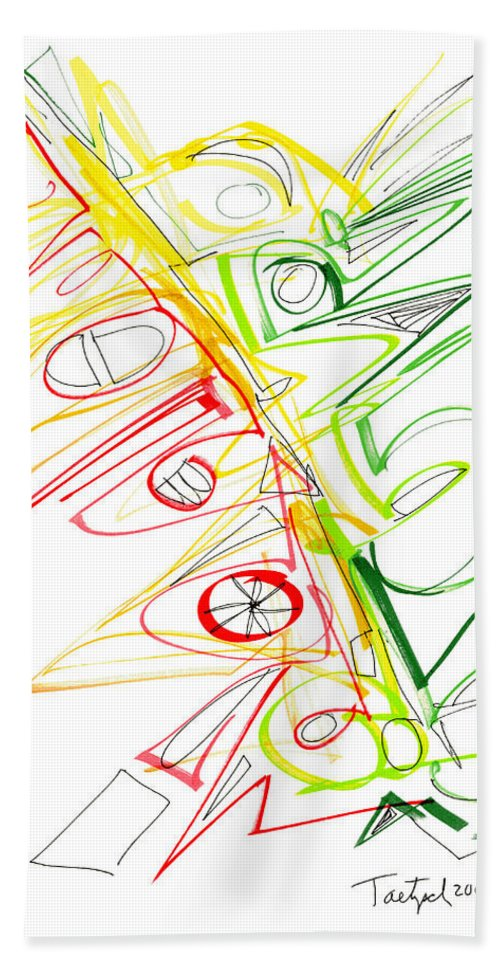 Abstract Hand Towel featuring the drawing Abstract Pen Drawing Seventy-one by Lynne Taetzsch