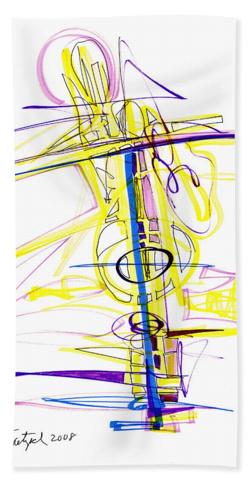 Abstract Hand Towel featuring the drawing Abstract Pen Drawing Seventy-two by Lynne Taetzsch
