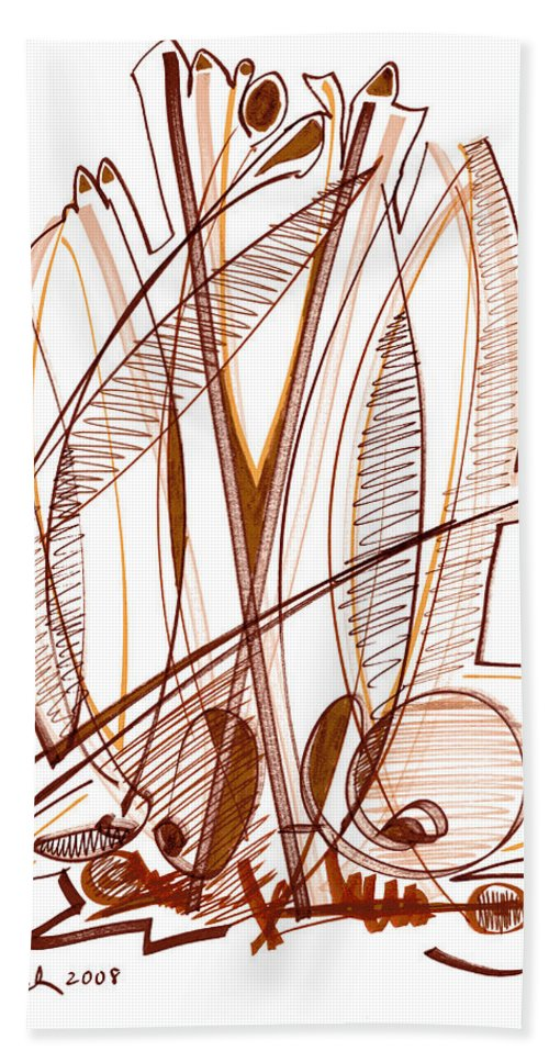 Abstract Bath Sheet featuring the drawing Abstract Pen Drawing Sixty-four by Lynne Taetzsch