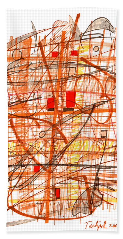 Abstract Bath Sheet featuring the drawing Abstract Pen Drawing Sixty-one by Lynne Taetzsch