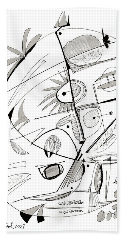 Abstract Bath Sheet featuring the drawing Abstract Pen Drawing Sixty-seven by Lynne Taetzsch