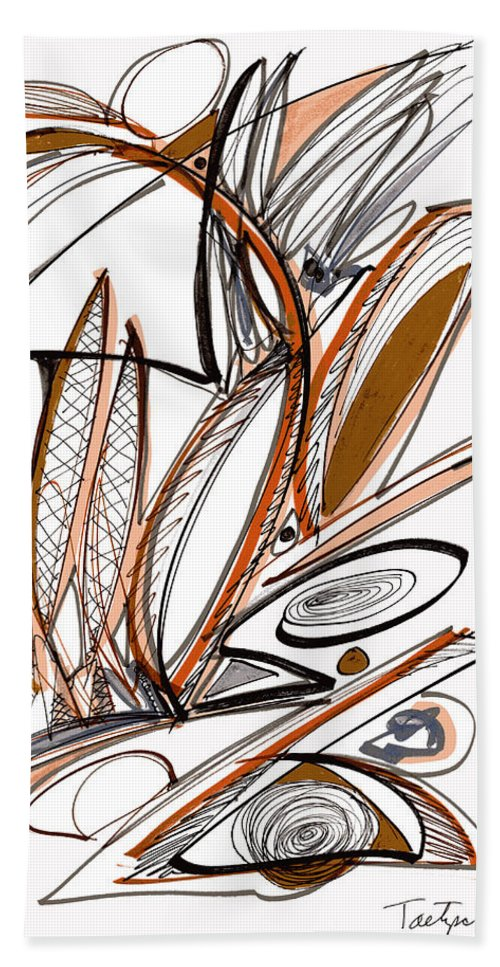 Abstract Hand Towel featuring the drawing Abstract Pen Drawing Sixty-six by Lynne Taetzsch
