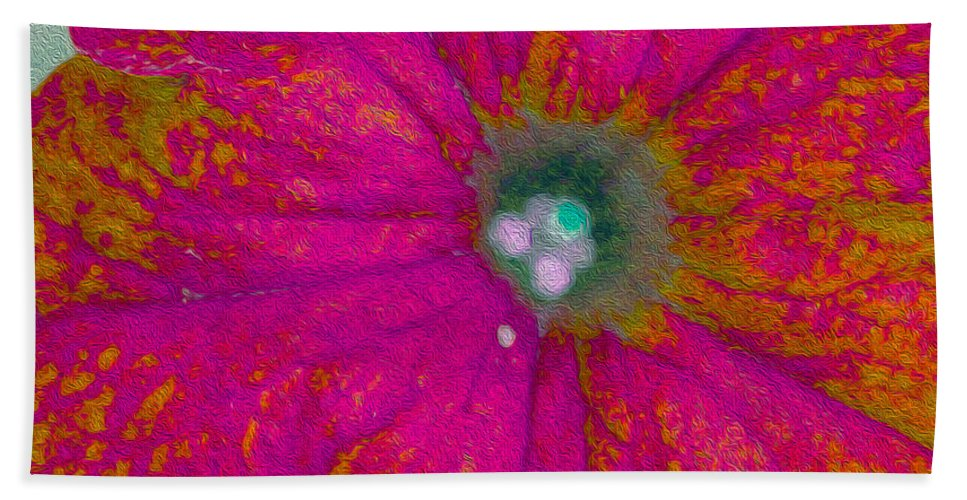 Floral Bath Sheet featuring the photograph Abstract Petunia by Nina Silver
