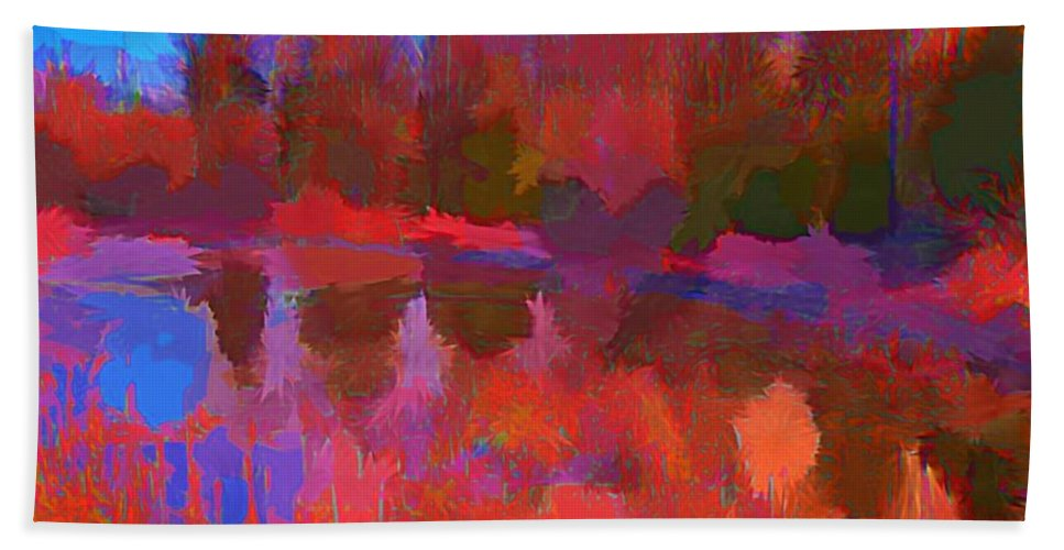Landscape Bath Sheet featuring the painting Abstract Pond by John Malone