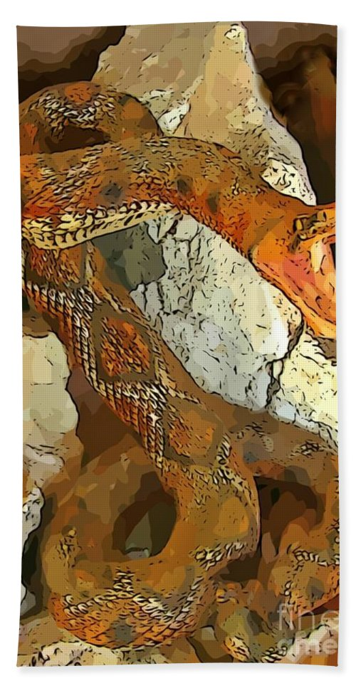 Abstract Rattlesnake Hand Towel featuring the digital art Abstract Rattlesnake by John Malone