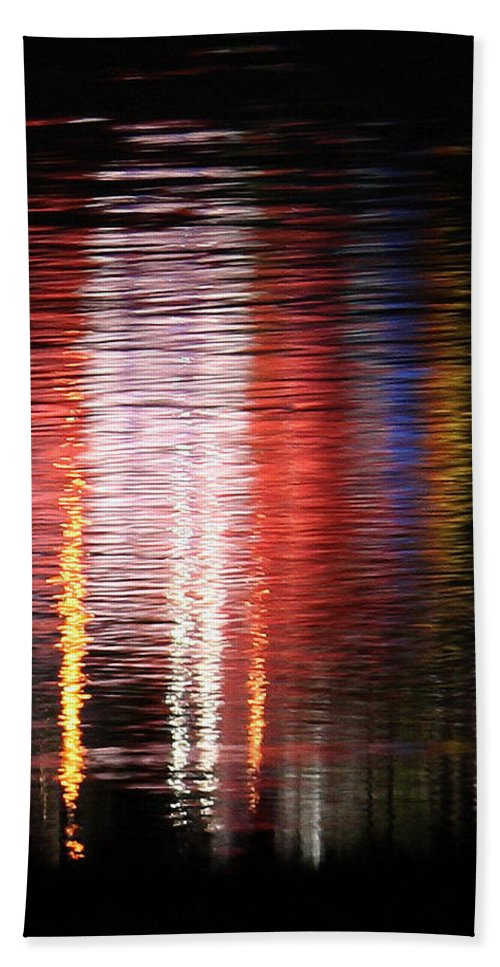 Abstract Realistic Reflection David Coblitz Water Balloon Glow Night Waves Ripples Colors Red Yellow Blue White Joy Bright Bath Sheet featuring the photograph Abstract Realism by David Coblitz