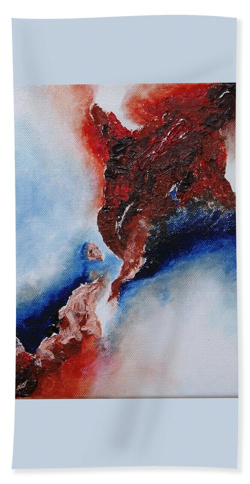 Abstract Hand Towel featuring the painting Abstract Rendezvous by Draia Coralia