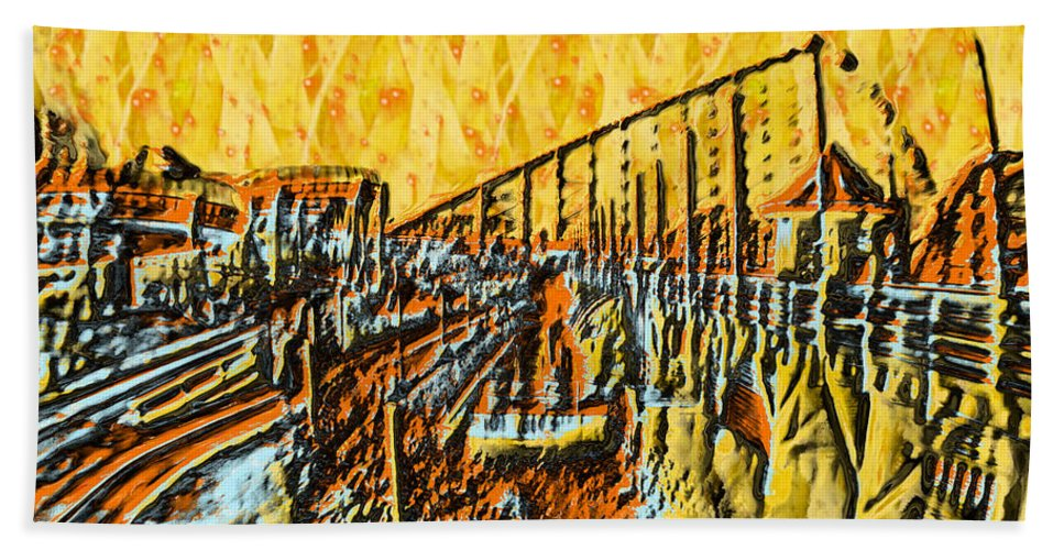 Abstract Hand Towel featuring the painting Abstract Roller Coaster by Doc Braham