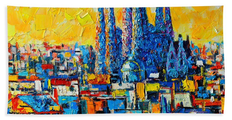 Barcelona Bath Sheet featuring the painting Abstract Sunset Over Sagrada Familia In Barcelona by Ana Maria Edulescu