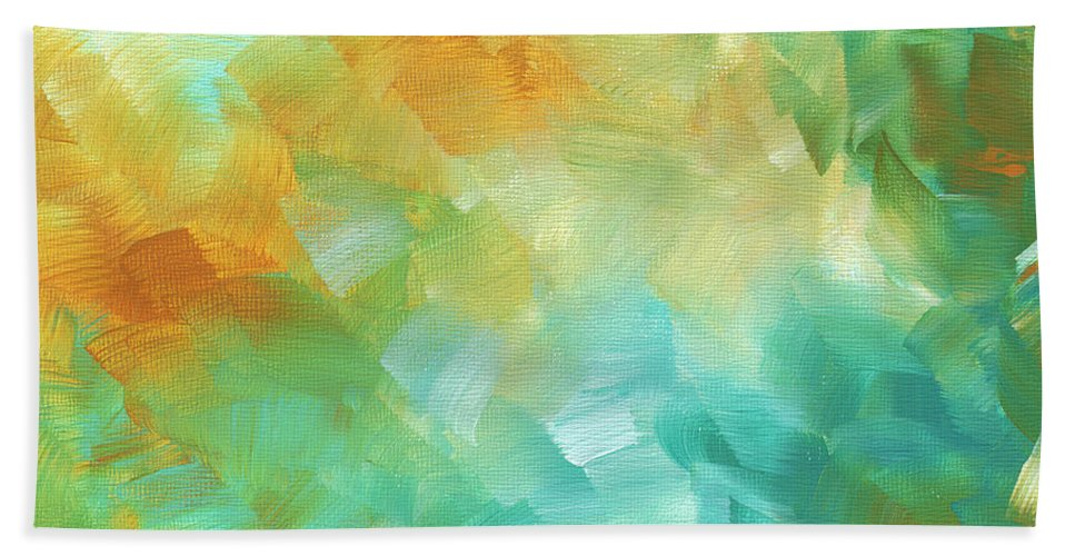Abstract Bath Sheet featuring the painting Abstract Textured Decorative Art Original Painting Gold And Teal By Madart by Megan Duncanson