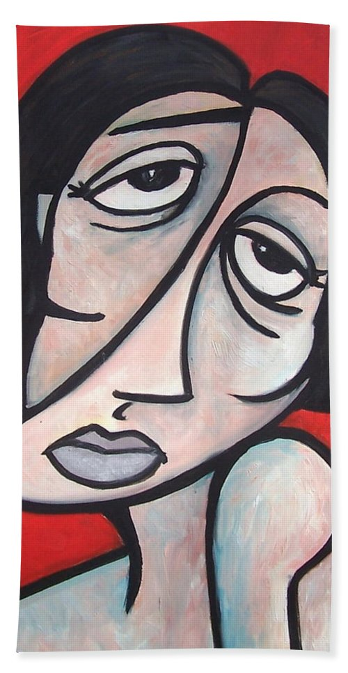 Portrait Hand Towel featuring the painting Abstract by Thomas Valentine