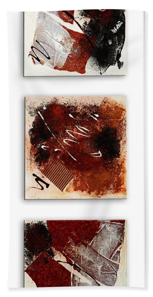 Abstract Bath Sheet featuring the painting Trio by Mary-Elise Art and Design