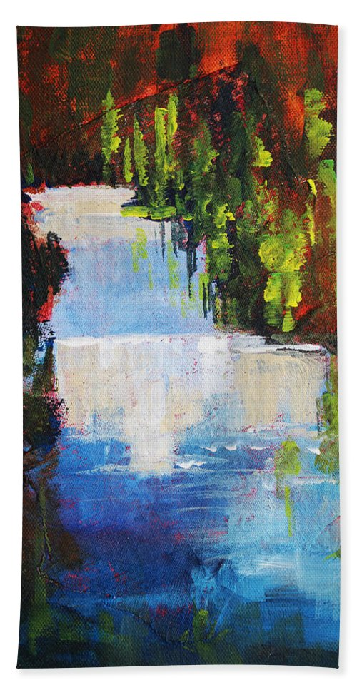 Abstract Bath Sheet featuring the painting Abstract Waterfall Painting by Nancy Merkle