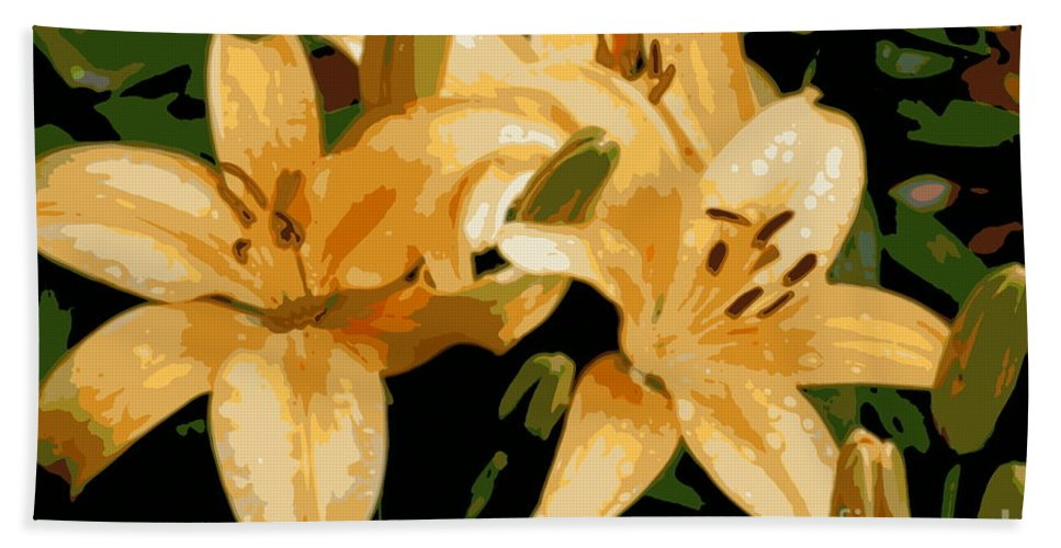 Lily Hand Towel featuring the photograph Abstract Yellow Asiatic Lily - 1 by Kenny Glotfelty