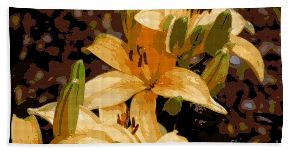 Lily Hand Towel featuring the photograph Abstract Yellow Asiatic Lily - 2 by Kenny Glotfelty