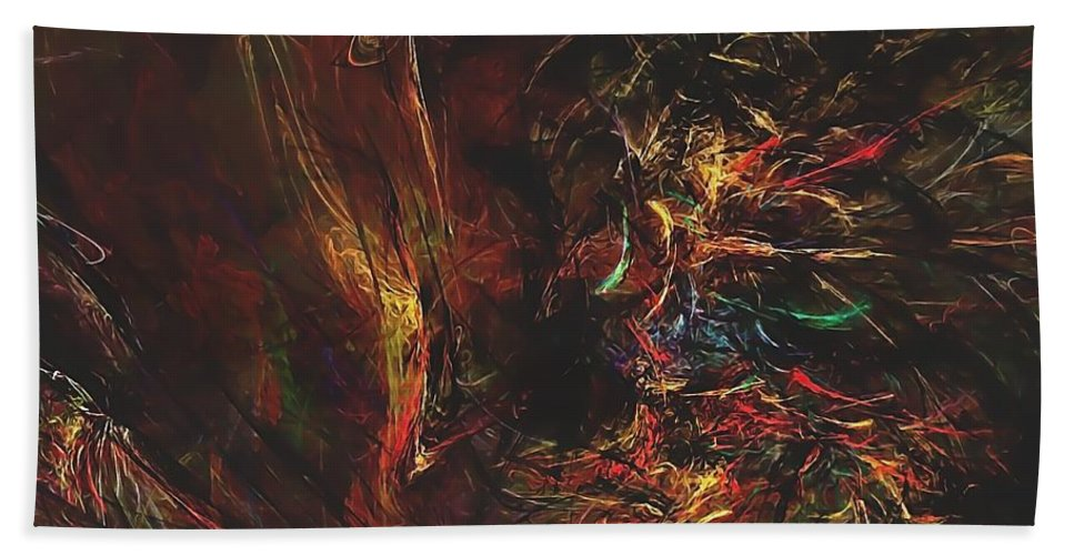 Graphics Hand Towel featuring the digital art Abstraction 0564 Marucii by Marek Lutek