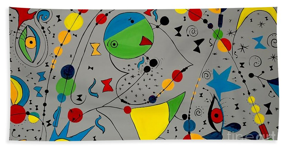 Abstraction Bath Sheet featuring the painting Abstraction 575 - Marucii by Marek Lutek