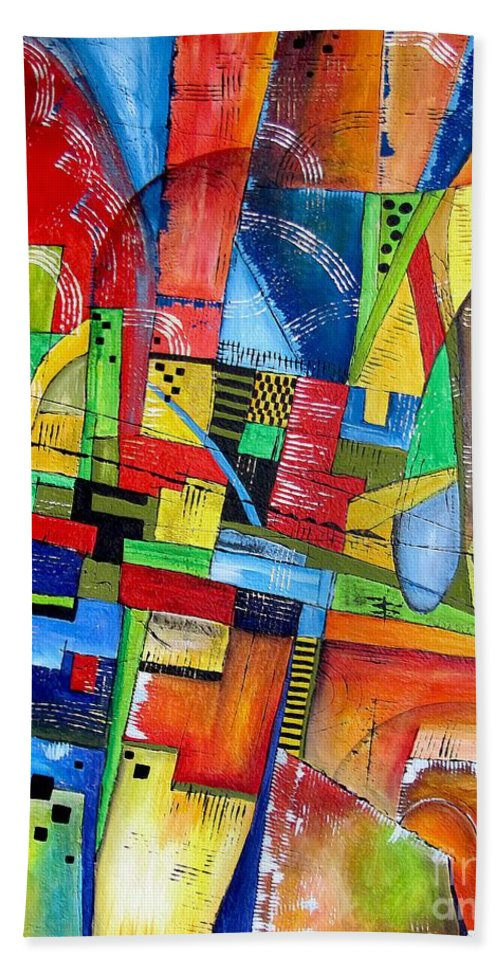 Abstraction Bath Sheet featuring the painting Abstraction 599-14 - Marucii by Marek Lutek