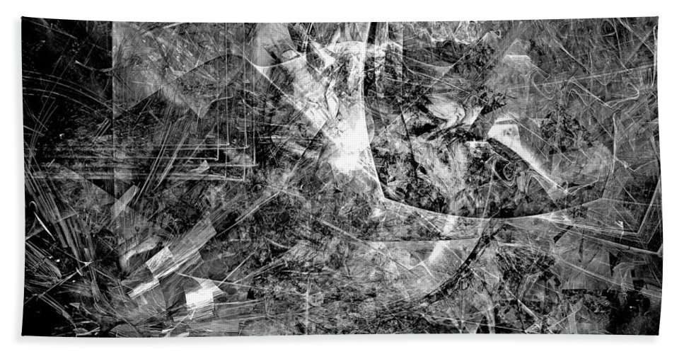 Architecture Drawings Hand Towel featuring the digital art Abstraction B-w 0504 - Marucii by Marek Lutek