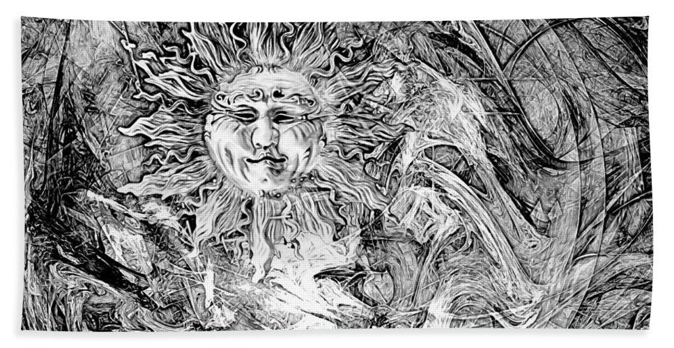 Fantasy Art Drawings Hand Towel featuring the digital art Abstraction B-w 0516 Marucii by Marek Lutek