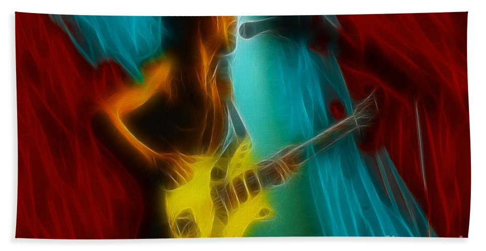 Ac/dc- Angus Young Hand Towel featuring the photograph Ac-dc-malcolm-95-d11-fractal by Gary Gingrich Galleries