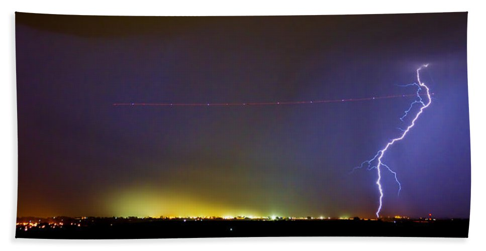 Lightning Bath Sheet featuring the photograph Ac Strike Over The City Lights Panorama by James BO Insogna
