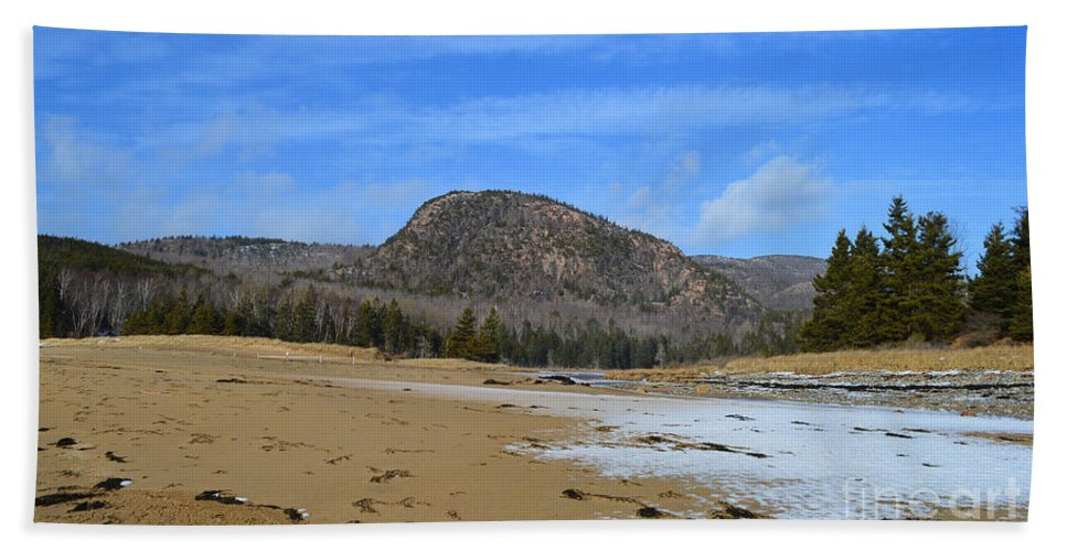Winter Bath Sheet featuring the photograph Acadia Beehive In Winter by Meandering Photography