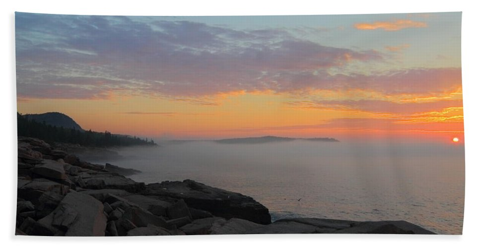 Acadia National Park Hand Towel featuring the photograph Acadia Sunrise 5 by Jeff Heimlich