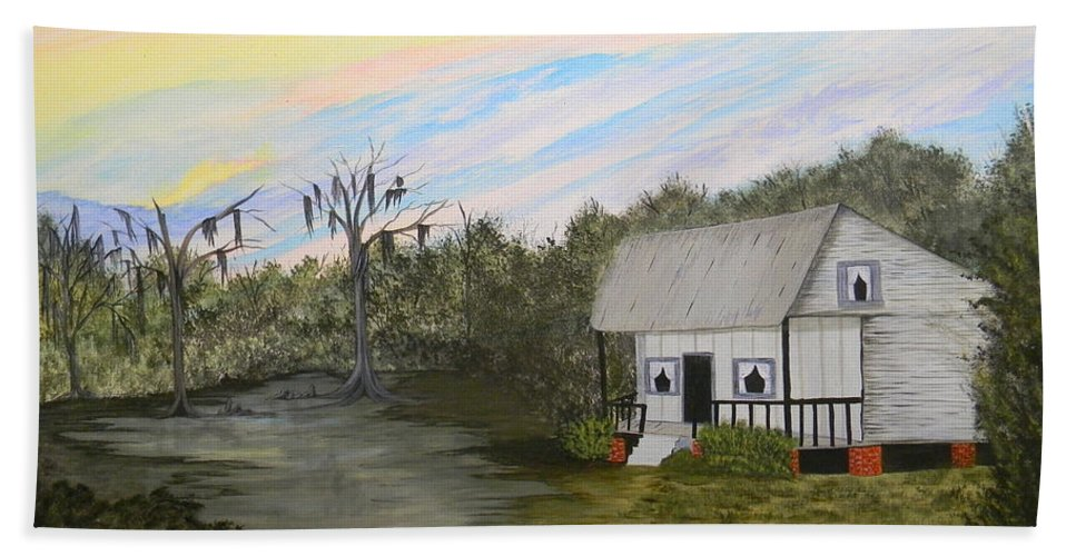 Acadian Hand Towel featuring the painting Acadian Home On The Bayou by Bertie Edwards