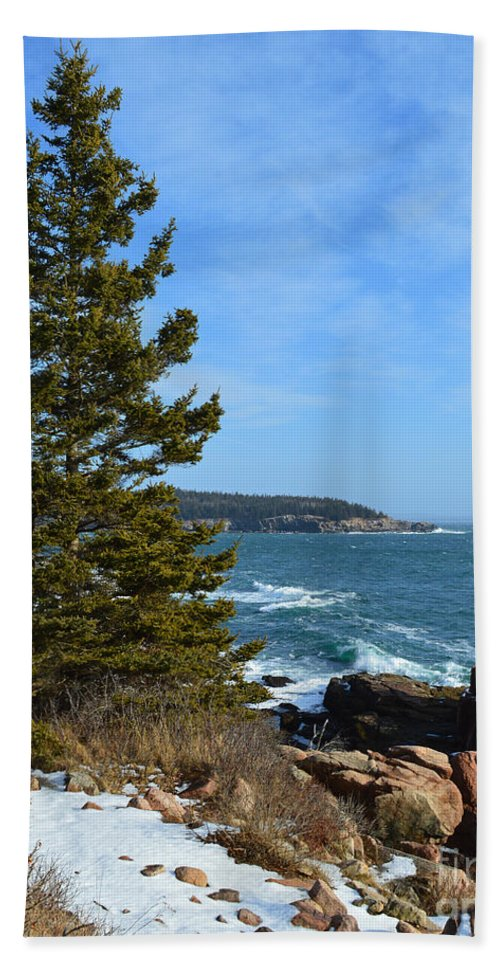 Acadia Bath Sheet featuring the photograph Acadian Shores In Winter by Meandering Photography