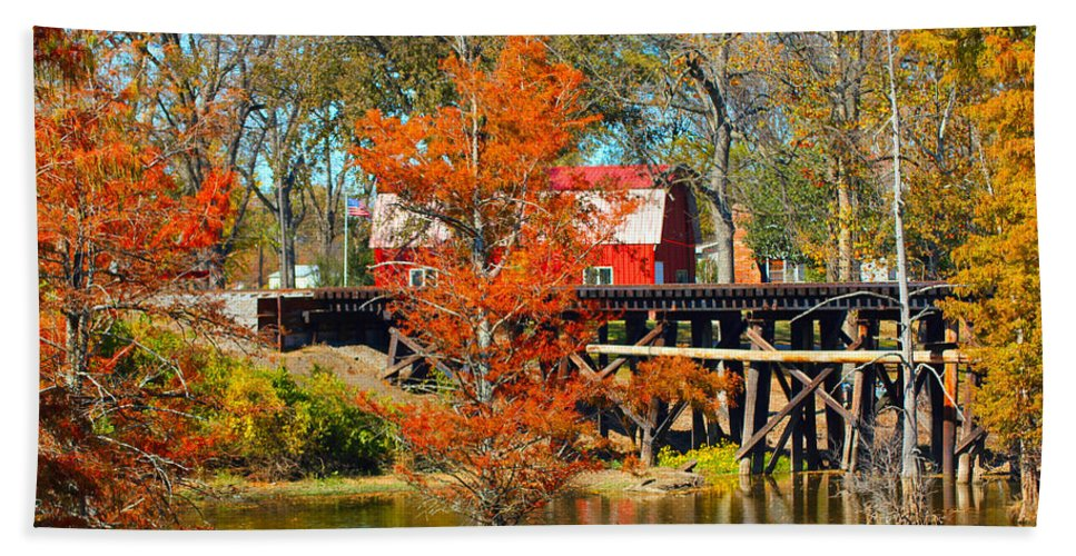Barn Hand Towel featuring the photograph Across The Bridge by Karen Wagner