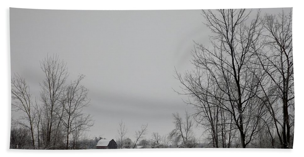 Snow Hand Towel featuring the photograph Across The Field by Linda Kerkau