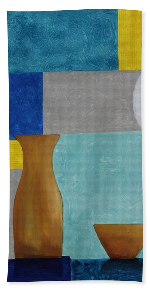 Originals Hand Towel featuring the painting Acrylic 3d Msc 004 by Mario Sergio Calzi