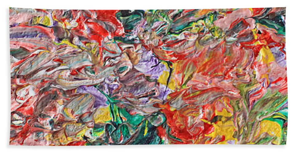 Acrylic Hand Towel featuring the painting Acrylic Madness by Carl Deaville