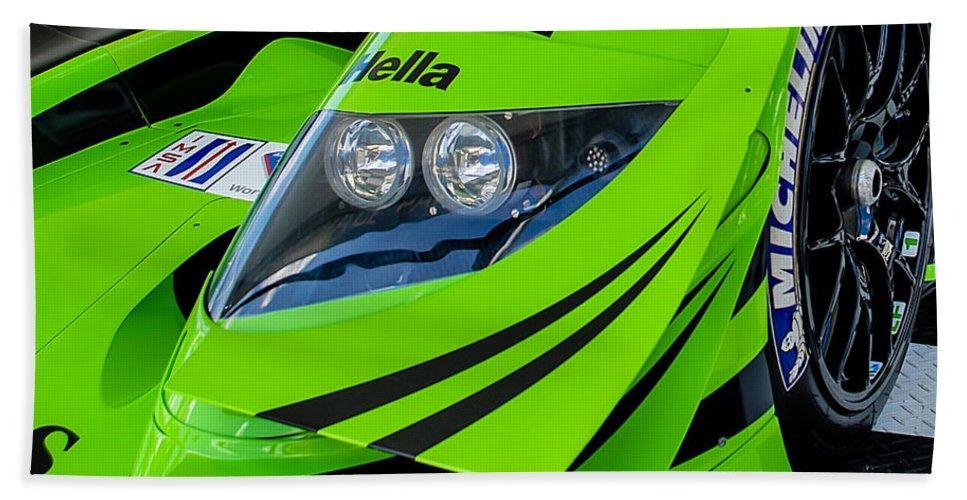 Racing Bath Towel featuring the photograph Acura Patron Car by Scott Wyatt