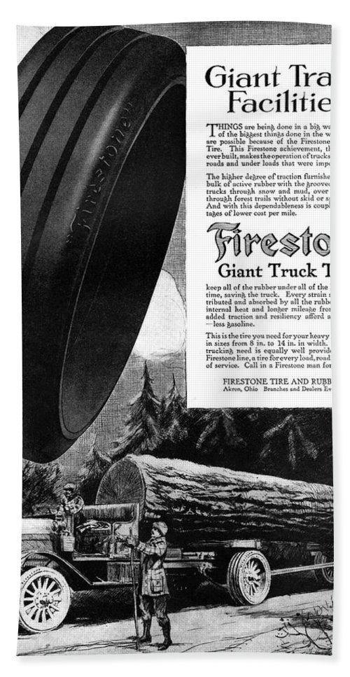 1918 Bath Towel featuring the painting Ad Firestone, 1918 by Granger