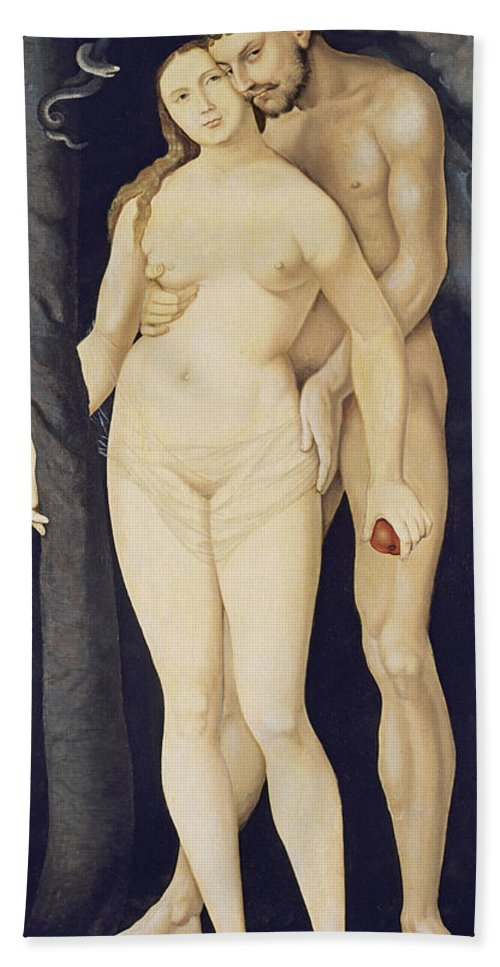 Hans Baldung Grien Bath Sheet featuring the painting Adam And Eve by Hans Baldung Grien