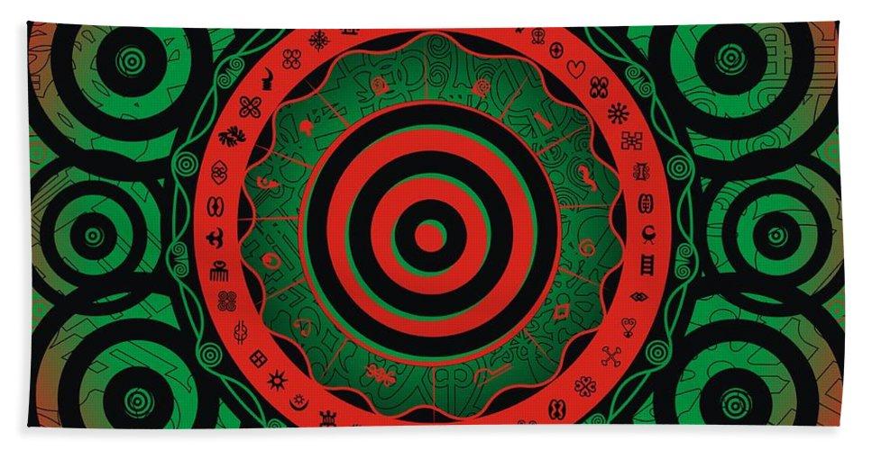 Adinke Bath Sheet featuring the digital art Adinkra Disk Pan-african II by Adinke Inc