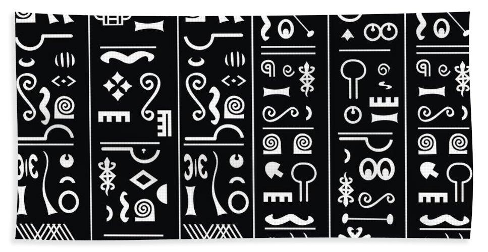 Adinke Hand Towel featuring the digital art Adinkraglyphics by Adinke Inc