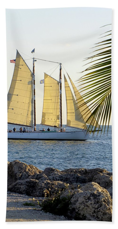 Water Hand Towel featuring the photograph Sailing On The Adirondack In Key West by Bob Slitzan