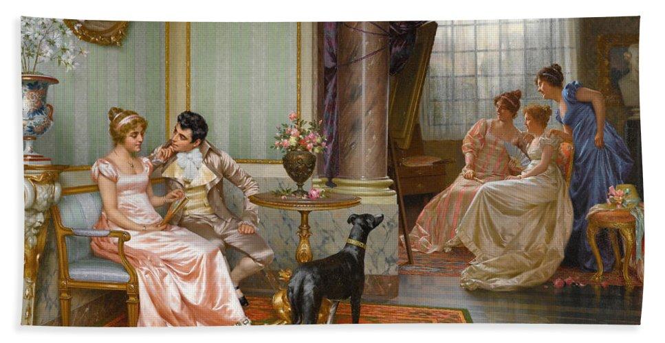 Vittorio Reggianini Bath Sheet featuring the painting Admiration by Vittorio Reggianini