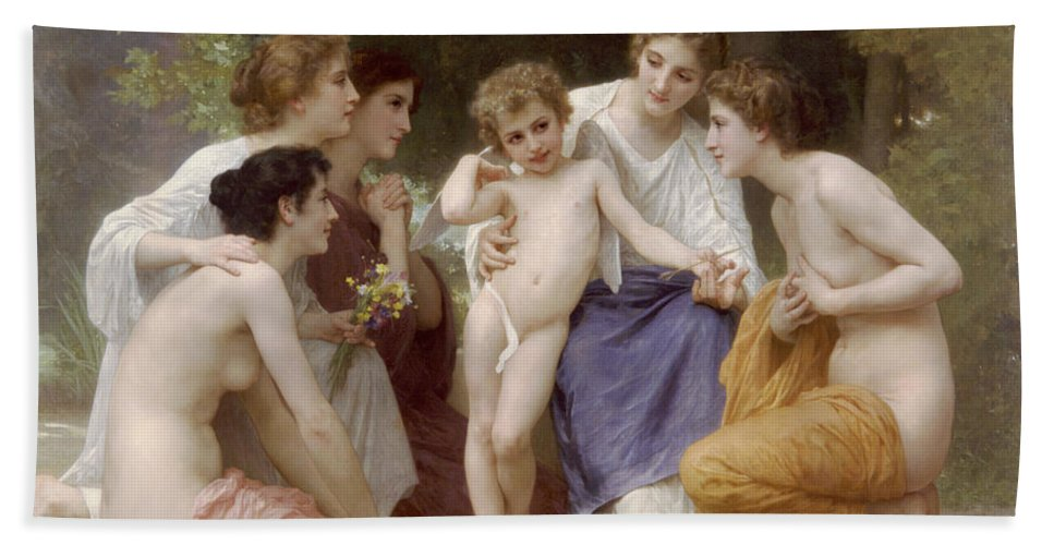 William-adolphe Bouguereau Bath Sheet featuring the painting Admiration by William-Adolphe Bouguereau