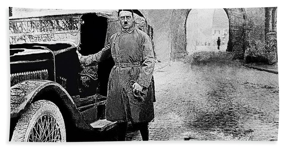 Adolf Hitler Shortly After His Release From Prison 1924 - 2012 Bath Sheet featuring the photograph Adolf Hitler Shortly After His Release From Prison With A Mercedes 1924 - 2012 by David Lee Guss