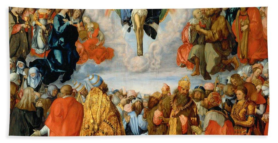Albrecht Duerer Bath Sheet featuring the painting Adoration Of The Trinity by Albrecht Duerer